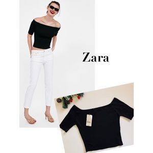 Zara Black Knit Crop Top Off Shoulder NWT